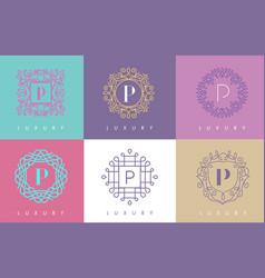 p letter pastel floral monogram lines logo design vector image vector image