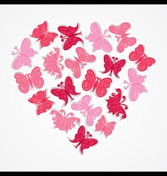 Pink heart shape butterfly design vector