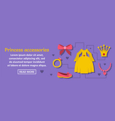 Princess accessories banner horizontal concept vector