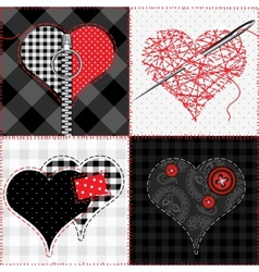 Quilt with hearts vector image vector image