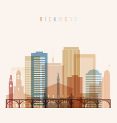 richmond state virginia skyline detailed vector image vector image