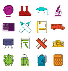 school icons doodle set vector image