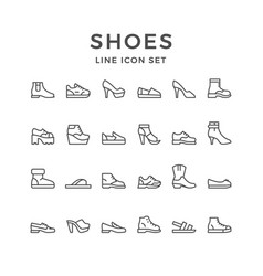 Set line icons of shoes vector