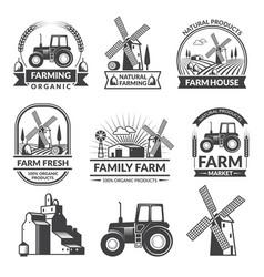 set of farm logos vector image