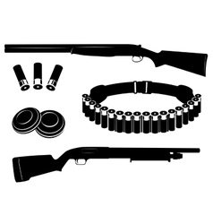 Set of shotgun and hunting equipment vector