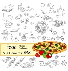 Sketch Set Pizza and Fastfood vector image