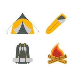 tent campfire backpack sleeping bag flat icons vector image vector image