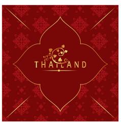 Thailand bodhi leaves thai design red background v vector