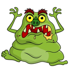 Ugly green monster cartoon vector