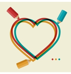 Valentines day background with colored pencil and vector image vector image
