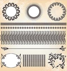 vintage floral pattern elements collection vector image vector image