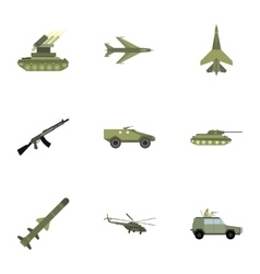 Weapons icons set flat style vector