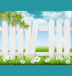 white wooden fence with broken plank vector image vector image
