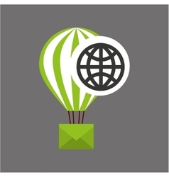 Globe post email balloon icon vector