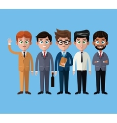 Cartoon men business fashion suit necktie vector