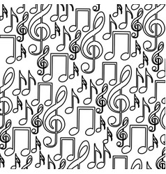 Monochrome background with pattern of musical vector