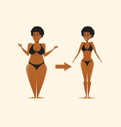 Fat and skinny black woman after the diet vector