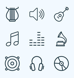 Music outlines set collection of strings plastic vector