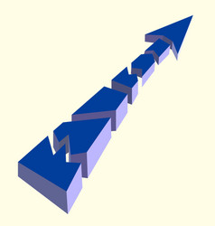 blue broken arrow pointing upwards on a white vector image