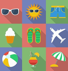 Set of icons of summer travel theme modern flat vector