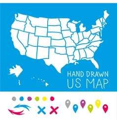 Hand drawn us map whith map pins vector