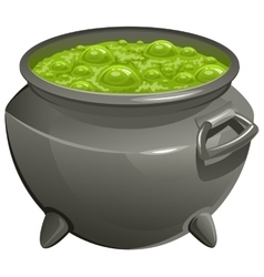 Pot with green magic potion vector