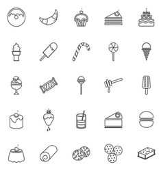Dessert line icons on white background vector