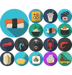 Colored icons for japanese restaurant menu vector