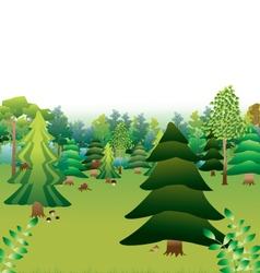 Green forest with different types of trees vector