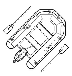 Outline inflatable boat vector