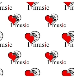 seamless patter with music heart vector image
