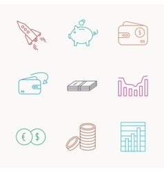 Piggy bank cash money and startup rocket icons vector