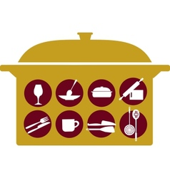 pot with kitchenware set vector image