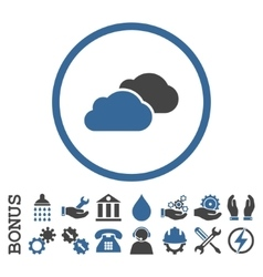 Clouds flat rounded icon with bonus vector