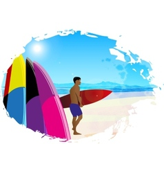 Artistic designed background with surfer vector