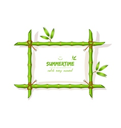 Background with green bamboo frame vector