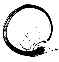 black brush stroke in the form of a circle vector image vector image