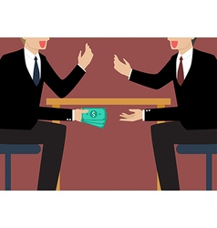Businessmen Passing Money Under the Table vector image vector image