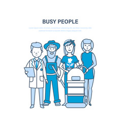 busy people employees clerk doctor vector image vector image