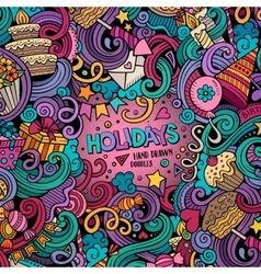 Cartoon hand-drawn doodles holidays vector image vector image