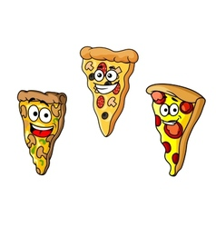 Cartoon pizza slices vector image