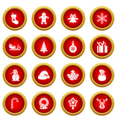 Christmas icon red circle set vector