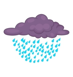 Clouds and rain icon cartoon style vector