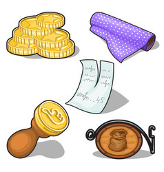 coins stamp and other symbol on banking theme vector image vector image