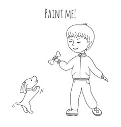 coloring boy and dog vector image