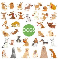 cute dog characters big set vector image vector image