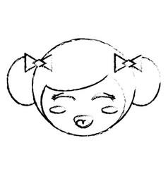 Cute face kokeshi sketch vector