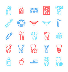 dental care tooth color thin line icon set vector image vector image
