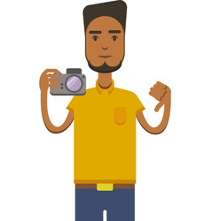 Drawing of africo american man with camera vector