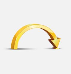 Golden bent arrow vector